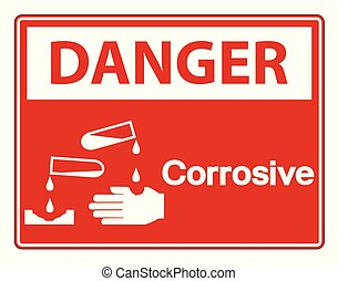 danger, symbole, signe, corrosif, fond, blanc