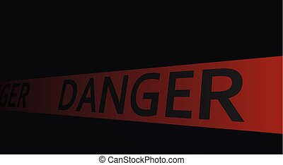 Danger tape in dark background