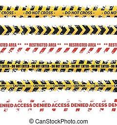 Danger tapes set vector - grundge danger tapes collection