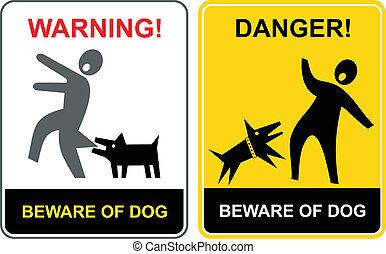 danger!, tenga cuidado, de, dog!