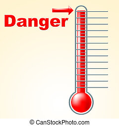 Danger Thermometer Indicates Mercury Celsius And Beware -...