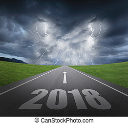 2018 new year concept - danger to 2018 new year concept with...