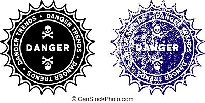 Danger Trends Stamp with Grunge Style