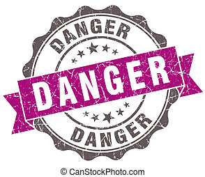 Danger violet grunge retro style isolated seal