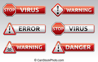 Isolated vector virus error, warning icon, sign collection with reflection and shadow on white background for your text