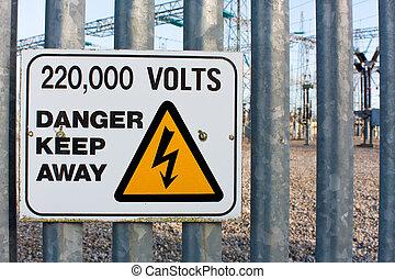 danger, volts, loin, garder, mille, 220