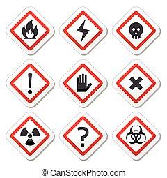 Vector risk, danger icons set isolated on white