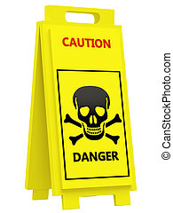 Danger warning sign on a white background