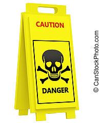 Danger warning sign on a white background