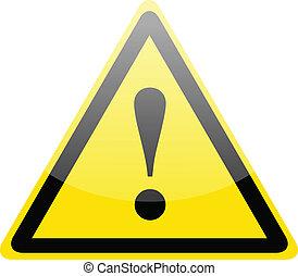 Danger warning sign - Yellow danger warning sign on white