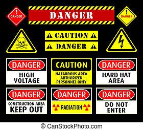 Danger warning symbols - Set of typical danger and caution ...