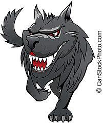 Danger wolf - Wild danger grey wolf in cartoon style...