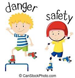 danger, wordcard, opposé, sécurité