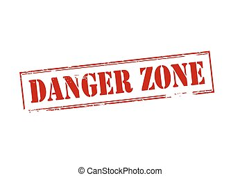 Rubber stamp with text danger zone inside, vector illustration