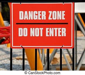 Danger zone warning sign at amusement park georgia.
