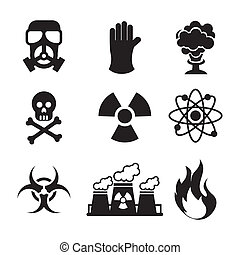 danger zone symbols over blue background, vector illustration