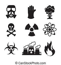 danger zone symbols over blue background, vector illustration