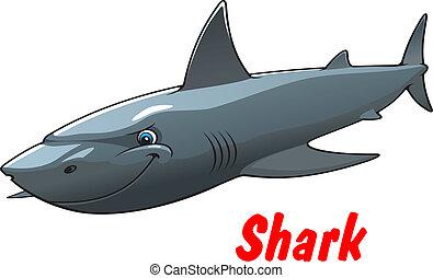 dangereux, dessin animé, requin, caractère
