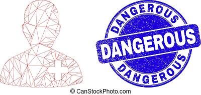 dangereux, docteur, cachet, maille, bleu, toile, détresse