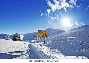 dangereux, hiver, route