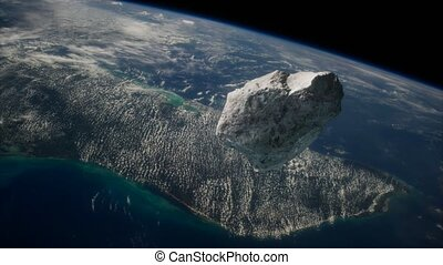 dangereux, la terre, astéroïde, approchant, planète