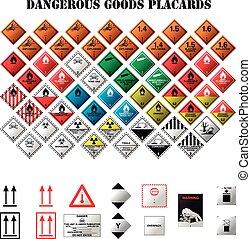 dangereux, marchandises, plaquettes