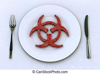 dangereux, nourriture, dans, plaque, concepts