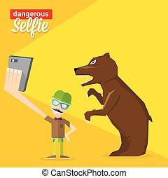dangereux, selfie, concept, ours, illustration