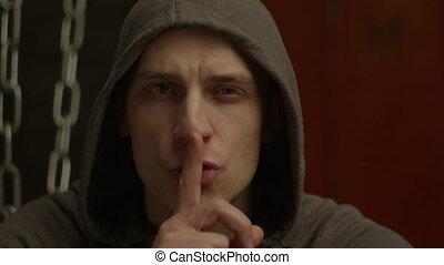 dangereux, silence, signe, brutal, hoodie, confection, homme