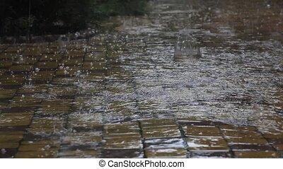 dangereux, temps, pluie, et, grêle