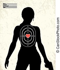 Dangerous armed woman - shooting range target