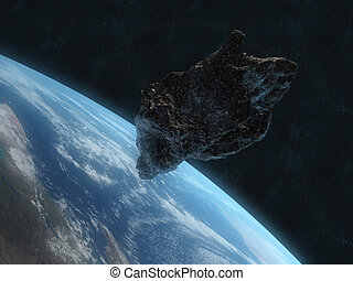dangerous asteroid - 3d rendered illustration of an asteroid...