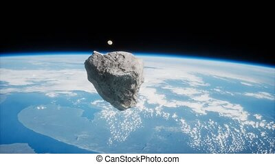 Dangerous asteroid approaching planet Earth, elements of this image furnished by NASA