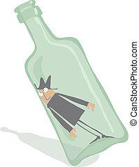 Drunkard inside the tottering bottle, editable vector EPS 8 file.