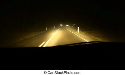 Dangerous bends on the road in fog.
