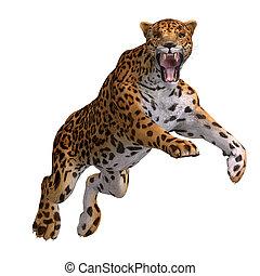 Big Cat Jaguar - Dangerous Big Cat Jaguar With Clipping Path...