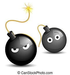 Dangerous bombs - Vector illustration of a lighted bomb...