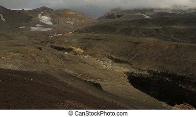 Dangerous Canyon near Mutnovsky volcano in Kamchatka stock footage video