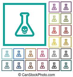 Dangerous chemical experiment flat color icons with quadrant...