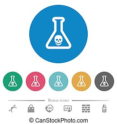 Dangerous chemical experiment flat round icons