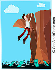 dangerous cliff - businessman in danger hanging at the cliff...