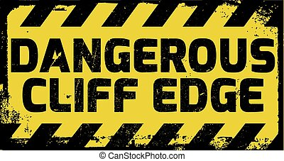 Dangerous cliff edge sign