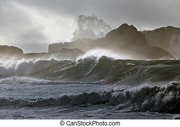 Dangerous cliff in a stormy day