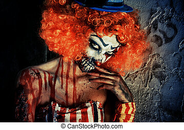 dangerous clown - Portrait of a terrible bloody redhead...