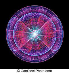 dangerous core - abstract dangerous wheel core rays on dark...