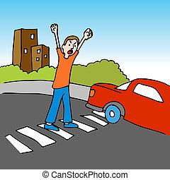 Dangerous Crosswalk - An image of a man shouting at a driver...