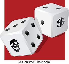 gambling, problem, addiction, ludomania, gamble, harm, money, play, casino, dice, luck, scull, dollar sign, chance, fortune, behavior, cost, impulse, control, disorder, win, lose, risk, damage, illustration, vector, craps