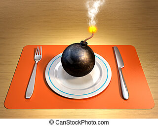 Dangerous diet - A lit bomb on a plate with fork and knife...
