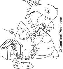 dangerous dragon outlined - illustration of a dangerous...