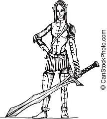 Dangerous Elf Girl Warrior. Black and white vector illustration